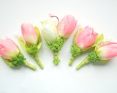 Spring Pink Tulips Grooms Boutonniere, Tulip Groomsmen Boutonnieres, Pink White Green Spring Wedding, Flowers Girl Pin, Bridesmaids Brooch