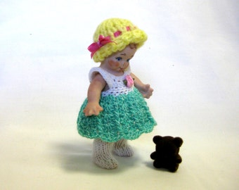 "Doll 4"" Skootles  full porcelain girl with moving arms cast from a vintage mold and wearing a crocheted outfitmold"
