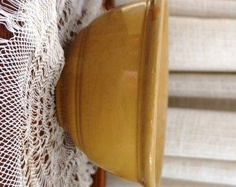 Vintage Yellow Ware Bowl Rolled Rim Banded Bottom Pottery Mixing Bowl