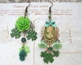 earrings cameo mismatch st patricks green shamrock assemblage irish
