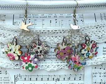 cottage chic floral earrings assemblage bird flower dainty