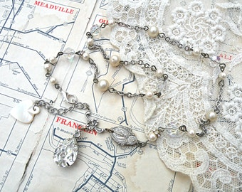petite religious assemblage necklace medal heart rhinestone pendant upcycled vintage jewelry