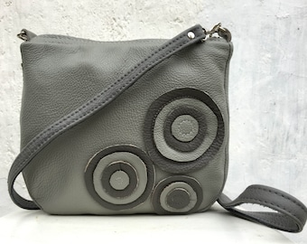 womens Leather Messenger grey leather Bag purse,  women leather bag, shoulder bag, cross-body purse, classic leather bag, everyday bag, fall