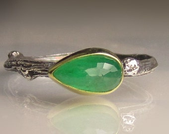 Emerald Ring, Rose Cut Emerald Twig Ring, Sterling Silver and 18k Yellow Gold