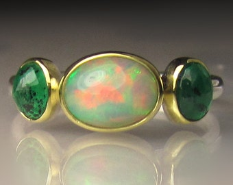 Opal Ring, Ethiopian Opal and Emerald Ring, Sterling Silver and 18k Gold, Three Stone Ring