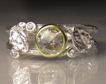 Rose Cut Moissanite Twig Ring, Moissanite Engagement Ring, Moissanite Twig and Leaf Ring. 18k Gold and Sterling Silver
