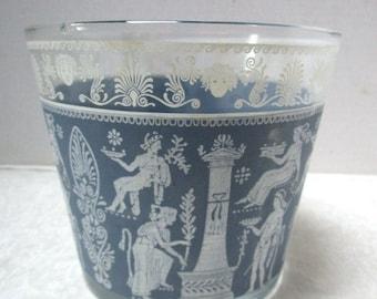 Vintage Cocktail Time Ice Bucket / Bowl / Wedgewood Blue w/ Grecian Roman Design, Greek Revival Retro Barware, MCM, Completer Piece