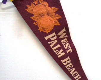 Large Vintage Pennant West Palm Beach Florida w/ Oranges Souvenir Felt Flag Tourist Trip  Family Vacation Purple + White Upcycle Craft Suppy