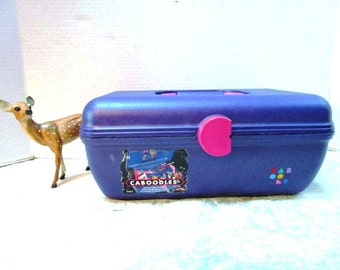 LAST ONE! Caboodles Purple Make Up Organizer Hard Side Plastic Carry On Traincase Make up Toiletries Organizer Craft Case Pj Party Tote