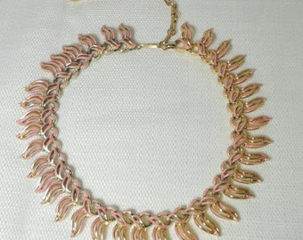 Vintage CORO gold tone and Pink Enamel Choker Necklace.