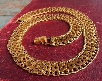 Vintage Monet Thick Gold Chain Necklace Bib Quality Fine Costume Jewelry 1960s Ornate Snake Chain Short Necklace Costume Jewelry Modernist