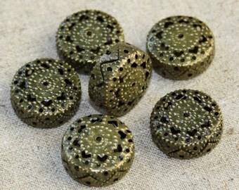 Pack of 10 Large Iron Filigree Beads