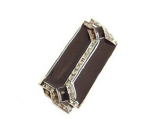 Vintage Brooch, Art Deco Brooch Jewelry, Black Brooch, Black Jewelry, Costume Jewelry, Womens Jewelry Accessories, Ladies Accessories