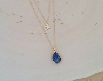 Midnight Blue. Double layering gold star charm and bezel set blue lapis stone necklace. Faceted. Gift. Layer. Gemstone. Boho chic.