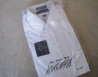 Vintage Clothing NOS Men's White Dress Shirt Long Sleeve Button Down Collar Lord & Taylor