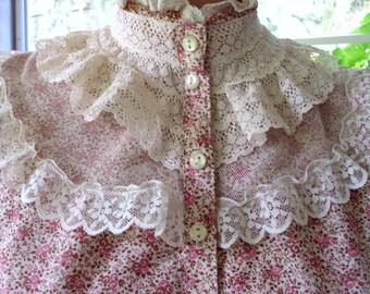 Gunne Sax?  Boho Victorian Calico Dress Large