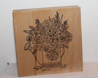 Floral Watering Can with Roses and Flowers Rubber Stamp