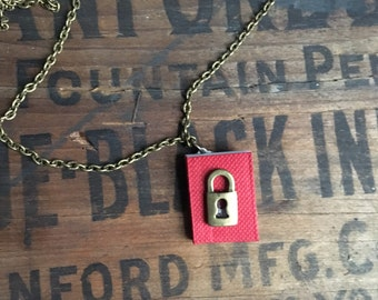 Little red diary with lock charm and brass chain