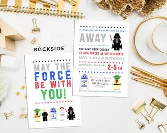 Star Wars Birthday Invite. Digital Printable Star Wars Invite. Star Wars Birthday. Boy Birthday.  Jedi Invite. Galaxy Invite. Yoda Invite.
