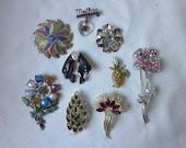 Vintage Lot of 9 Brooches Rhinestone Enamel Figural