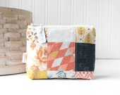 Patchwork Earth Tones Coin Purse Gift Card Credit Card Holder Geometric Zipper Pouch Floral Change Purse