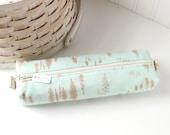 Woodland Pencil Case Mint Blue Boxy Pouch Blue Pencil Case Cute Pencil Pouch Zipper Pouch