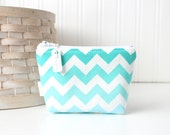 Blue and White Chevron Coin Purse Gift Card Credit Card Holder Small Zipper Pouch Chevron Change Purse