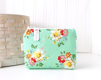 Retro Aqua Floral Coin Purse Gift Card Credit Card Holder Floral Zipper Pouch Floral Change Purse