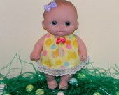 LC8DP-24) 8 inch Lil Cutesies Berenguer baby doll clothes, 1 cute easter dress with panties