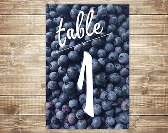 Printable Table Number Card - Blueberry
