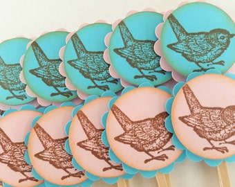 Pink and Blue Bird Cupcake Toppers Its a Girl or Boy Gender Reveal Baby Shower Theme Party Decorations