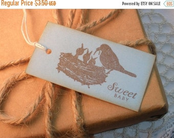 SALE New Baby Bird Family Baby Shower Tags Set of 8