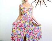 SALE 50% OFF Vintage 80s Bright Floral Dress Yellow Blue Pink White Flower Print Ruffle Neck Drop Waist Full Skirt 1980s Retro Flower Patter