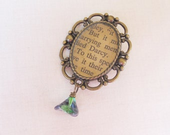 Pride and Prejudice Brooch. Jane Austen Mr Darcy. Bridal Bouquet Pin. Upcycled Cameo Jewellery Blue Green Variegated Flower Jewelry