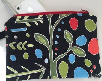 zippered medium pouch / black with fun design / teacher gift / New!