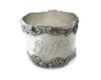 Antique G.W. Monogrammed Napkin Ring, Victorian Silverplate Napkin Ring