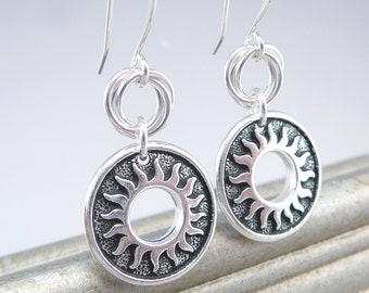 Sunflower Earrings, Black and Silver Drop Earrings, 925 Jewelry, Circle Earrings, Black Drop Earrings, Sunburst Dangle Earrings