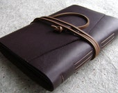 Slim leather photo album, for 4-inch by 6-inch photos, dark brown, by Dancing Grey Studio(1903)