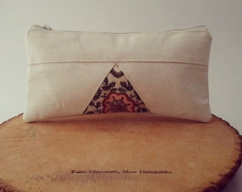 Triangle Pencil Case, Cotton Pouch, Gadget Case, Geometric, Natural, Cotton, Peach, Flower pattern