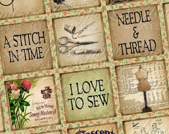 A Stitch In Time / Sewing / Needlework - Printable INSTANT DOWNLOAD 1x1 Inch Square Tiles Digital JPG Collage Sheet