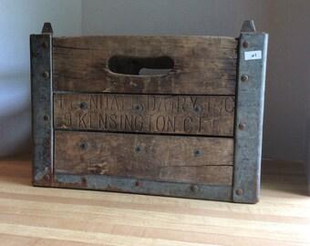 Vintage 1958 Wooden Milk Bottle Crate #1