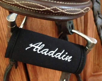 Horse Bit Cover-Warmer for Bridle-Personalized-Black or Blue