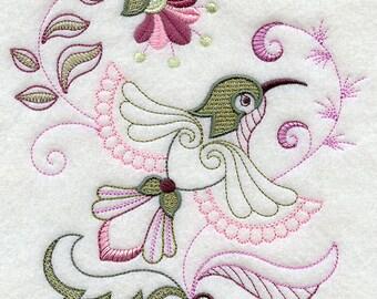 Beautiful Embroidered Hummingbird --flour sack dish towel