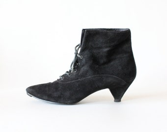 Vintage Black Suede Lace-Up Kitten Heel Ankle Boots, size 6.5