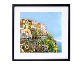 Italian Landscape Art Print Landscape Watercolor Romantic painting of Cinque Terre Italy Seascape art work sea cliffs color field blue green