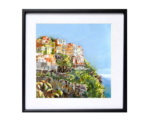 Italian Landscape Art Print Landscape Watercolor Romantic painting of Cinque Terre Italy Seascape art work sea cliffs color field blue green
