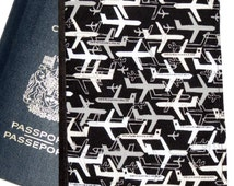 Passport Cover, Document Holder, Pieced Front, Black Grey Ships and Airplanes