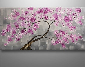 Home Decor, Abstract Painting, Tree Painting, Landscape, Cherry blossom, Pink Flowers, Abstract Wall Art, home decor, original painting