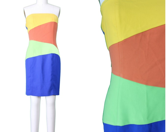 Body Con Color Block Dress / Sexy Rave Strapless Color Block Dress / Bright Color Block 90s Rave Dress / 90s Tube Top Dress / Festival Dress