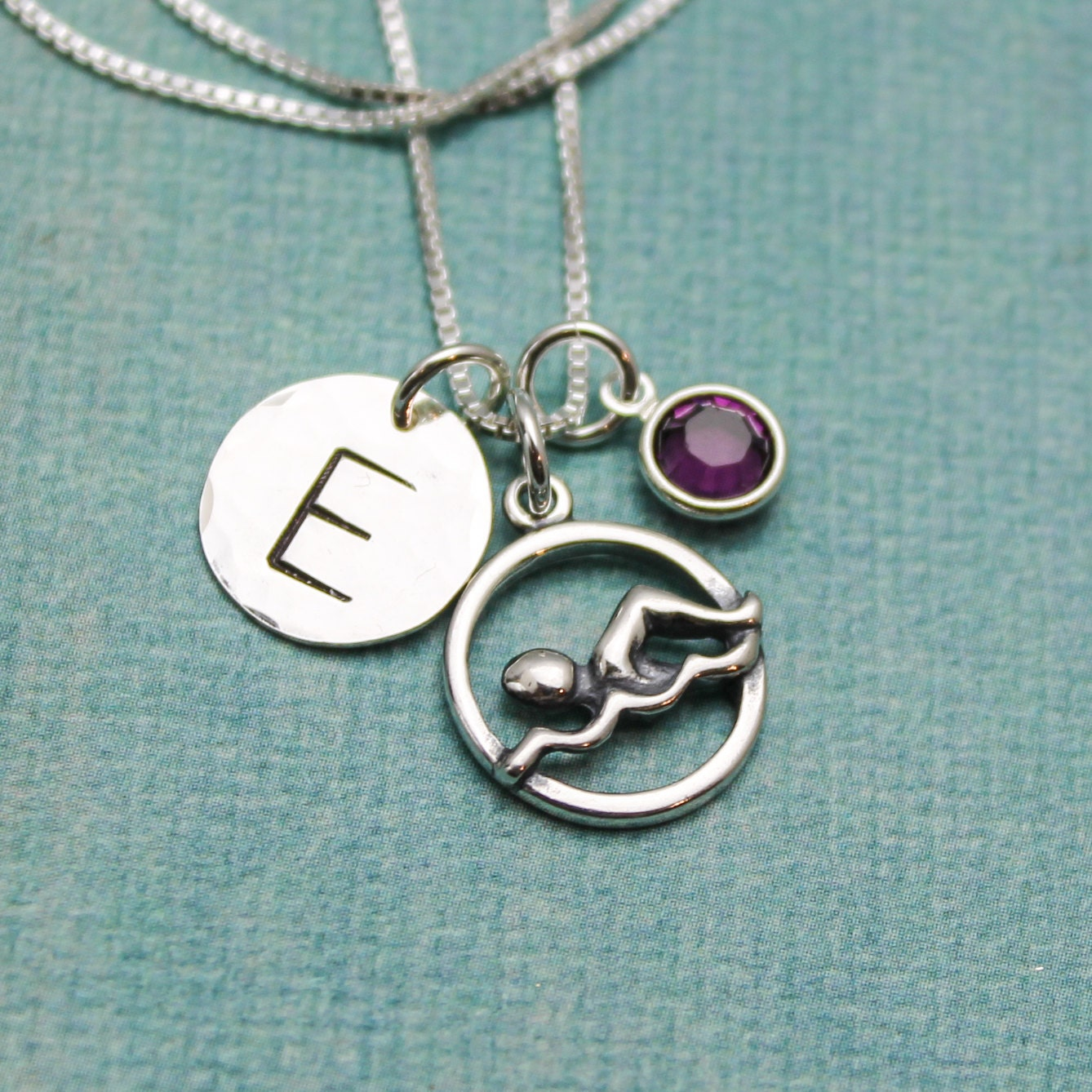 swimmer jewelry personalized swimmer charm necklace swimming necklace swim 7141